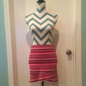 Striped asymmetrical sarape pattern mini skirt